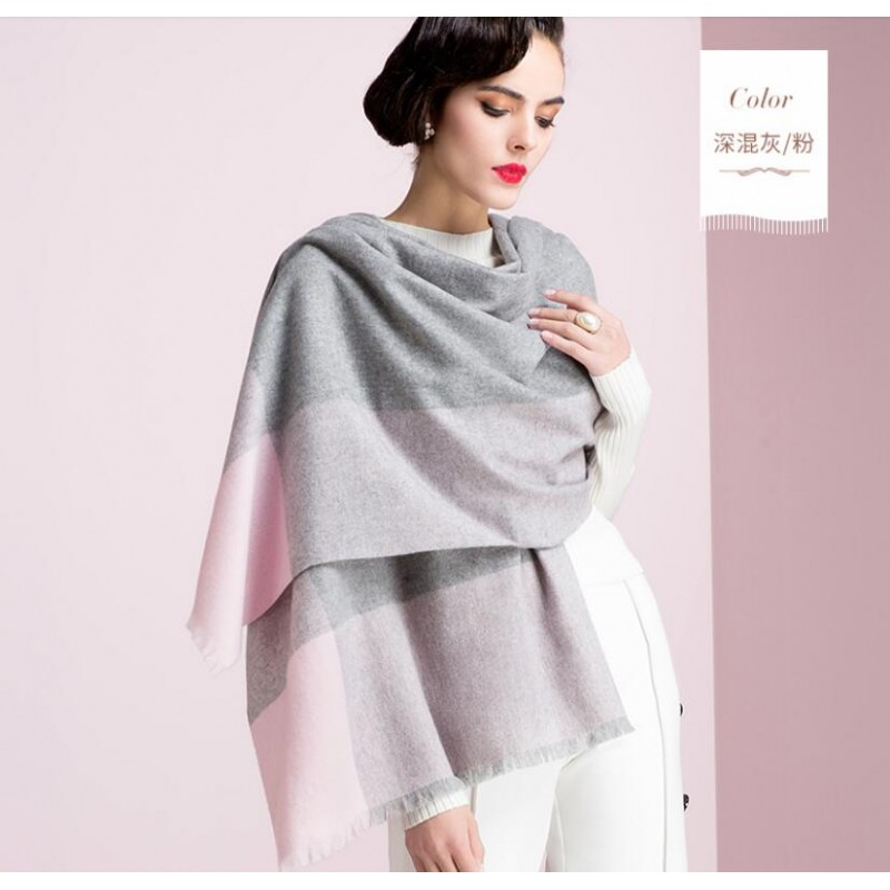 cdbf4221a Pure Cashmere Scarf Women Pink Gray Plaid Fashional Winter Warm Scarf