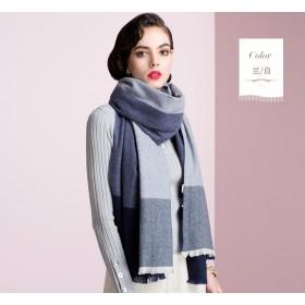a7893b47d Pure Cashmere Scarf Women Blue Gray Big Plaid Fashional Winter Warm Scarf
